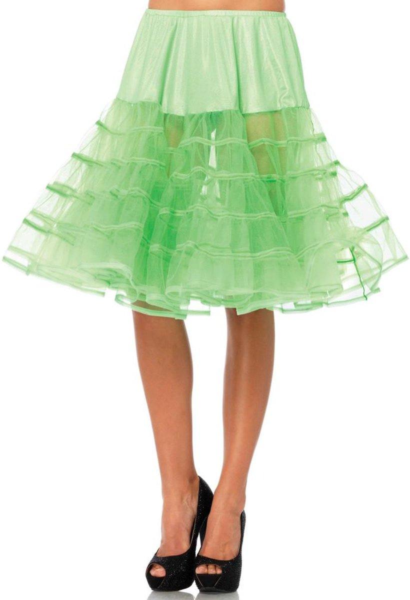 0720e231d42f35 Basic knielange petticoat rok neon groen ...