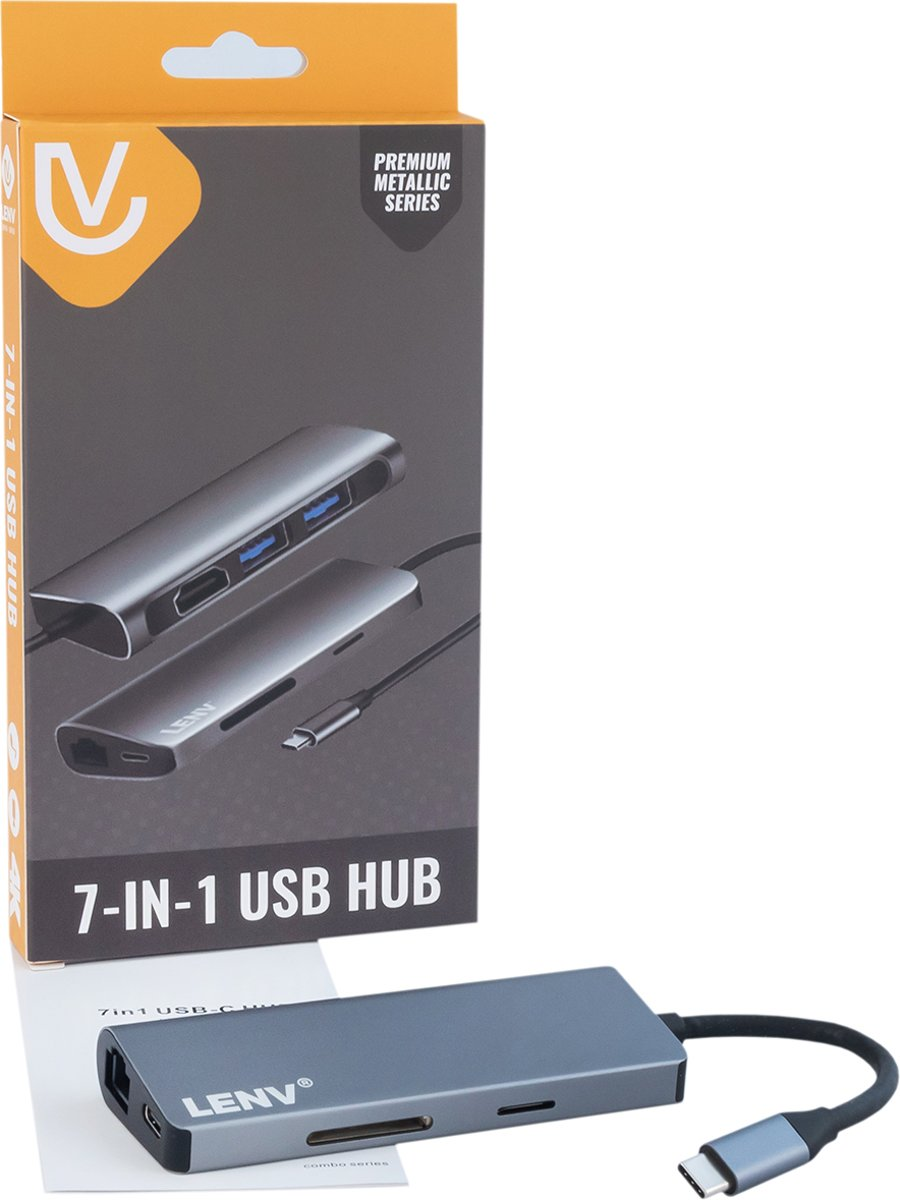 Type-C USB3.0 HDMI 4k SD card Ethernet Netwerk Lan - 7 in 1 USB   voor Mac OS/Windows/Linux/Android