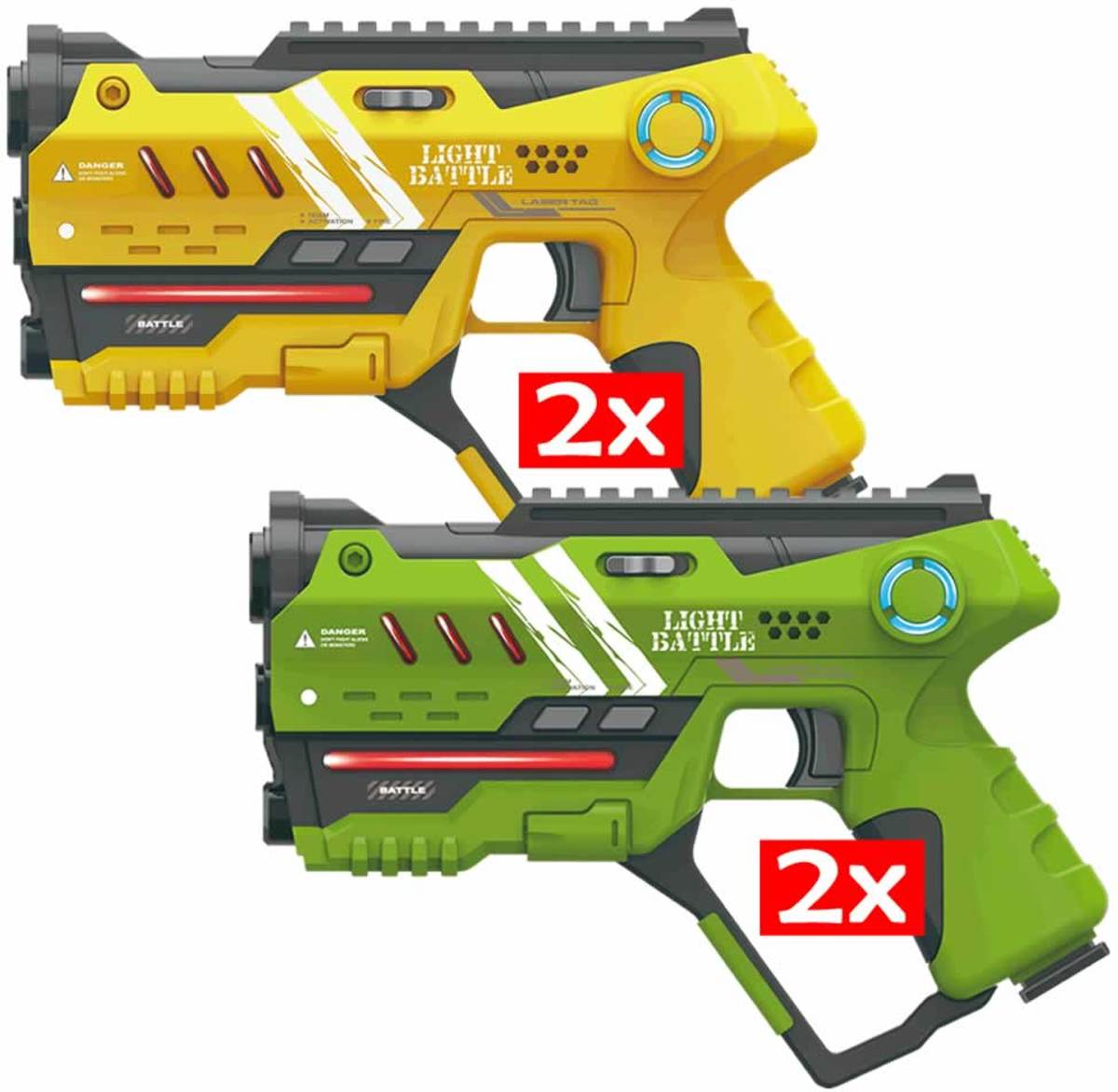 Anti-Cheat Lasergame pistolen set - 2x geel en 2x groen
