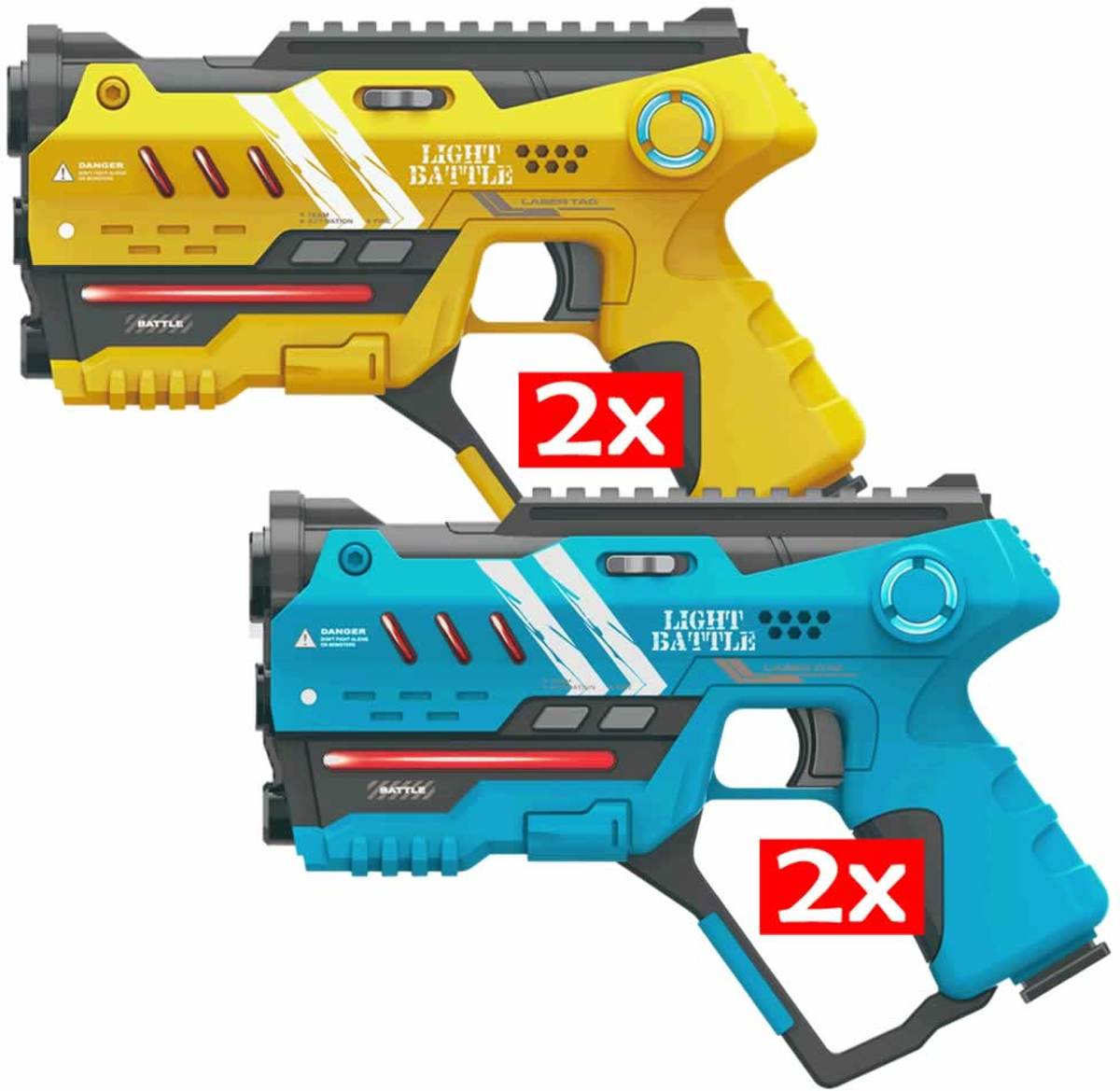Anti-Cheat laserpistolen set - 2x geel en 2x blauw
