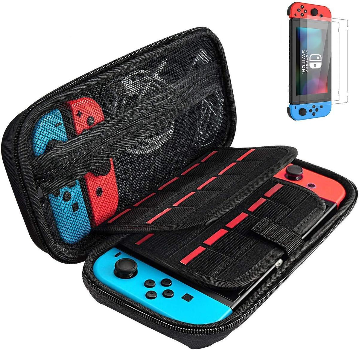 Nintendo Switch Case + Screenprotector - 20 Gamekaartvakken - Zwart