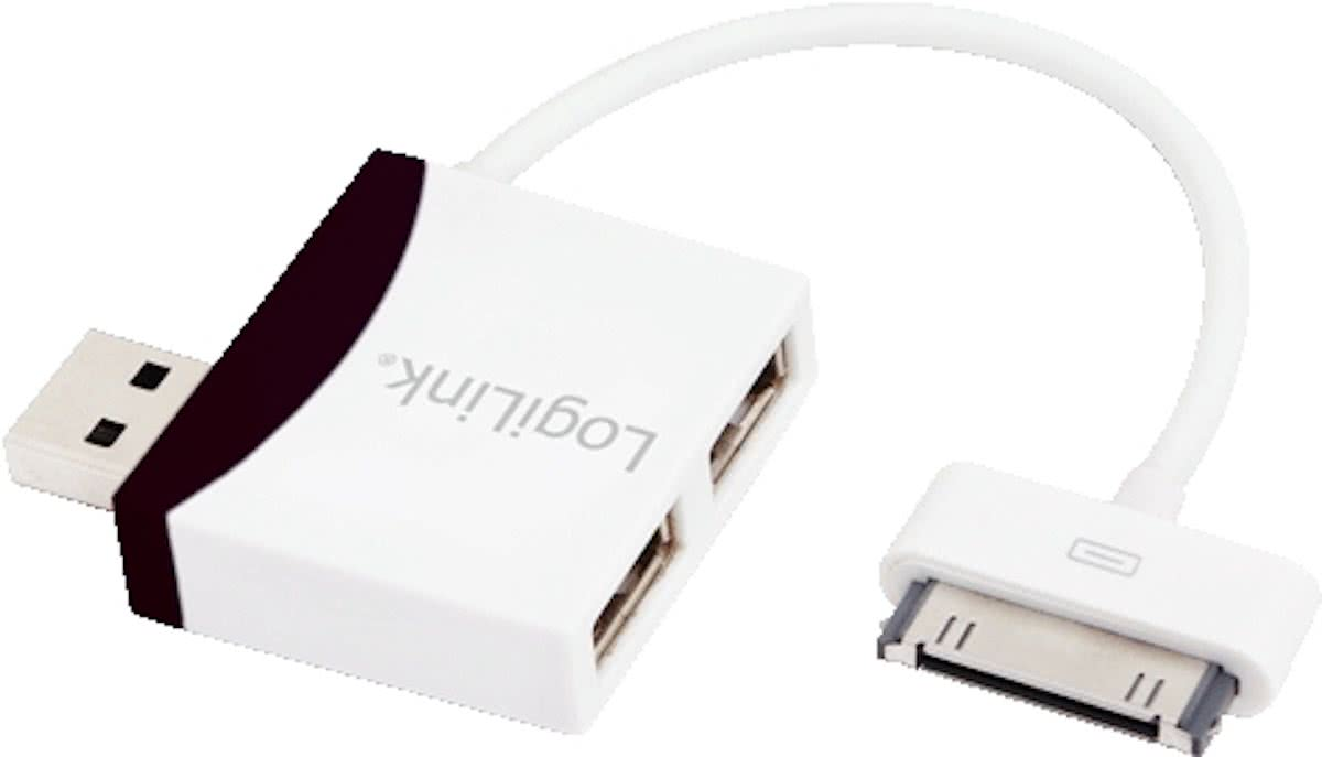 USB 2.0 HUB 2-Port LogiLink met Dock Connector, 0,1m