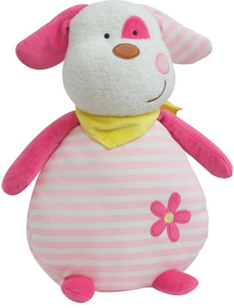 Glow In The Dark Knuffel Hond Roze/wit 21 Cm