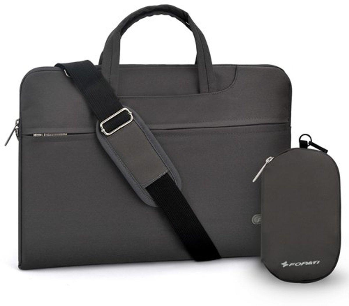 b91feebf55c Luxe Laptophoes met Schouderband en Tasje voor Oplader of Muis | 15 inch |  Grijs