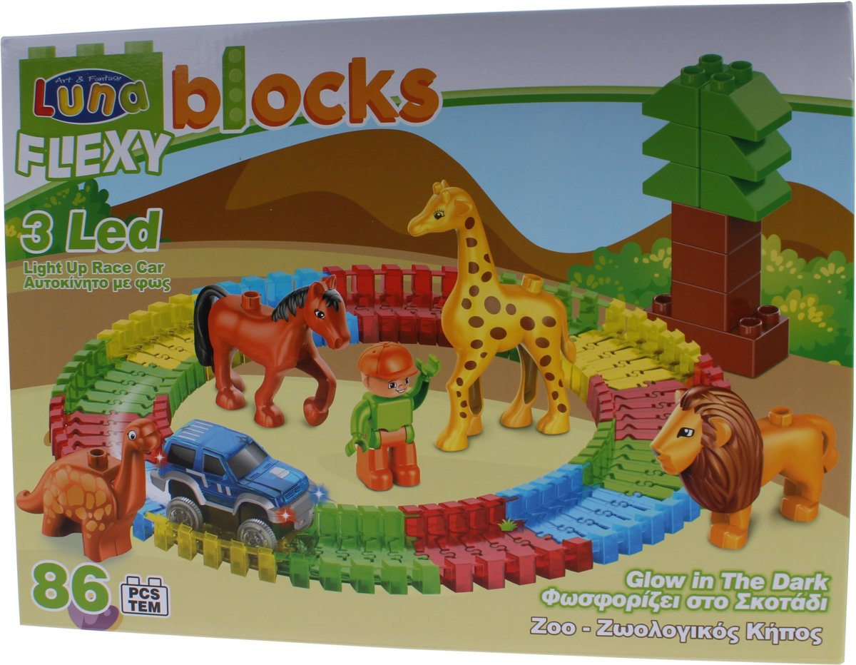 Luna Flexy Blocks Zoo Bouwset Glow In The Dark 86-delig