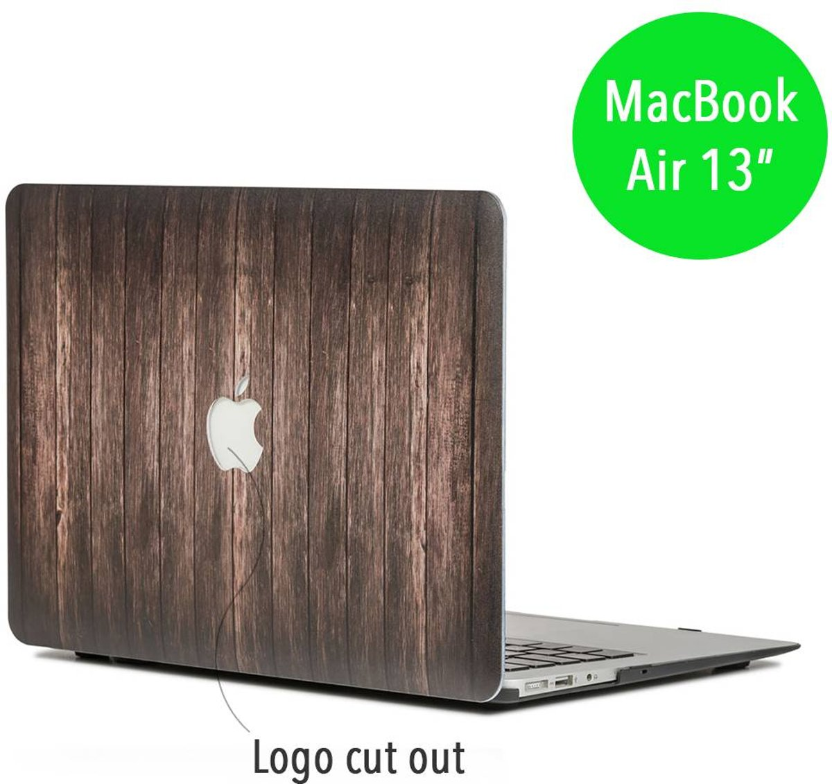 Lunso - hardcase hoes - MacBook Air 13 inch - houtlook donkerbruin