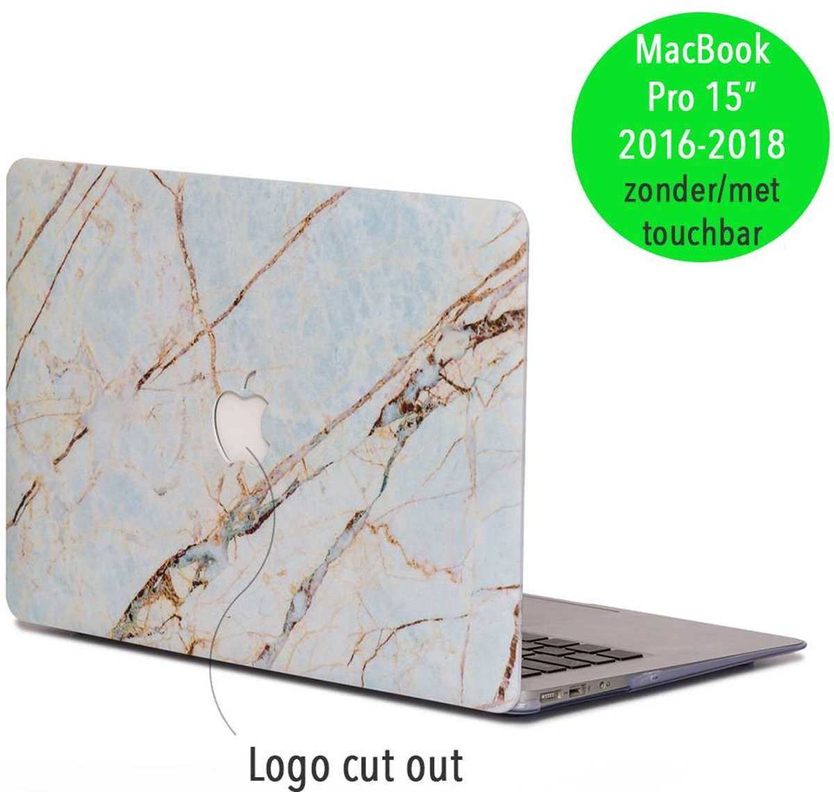 Lunso - hardcase hoes - MacBook Pro Retina 15 inch (2016-2018) - marmer blauw/goud