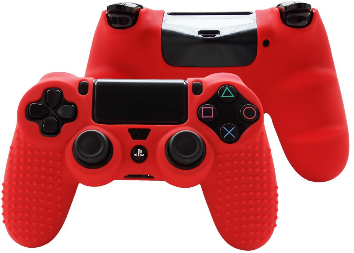 Playstation 4 Controller Siliconen Skin Grip - Playstayion Skin - PS4 - Rood - Inclusief Grip Stick Covers