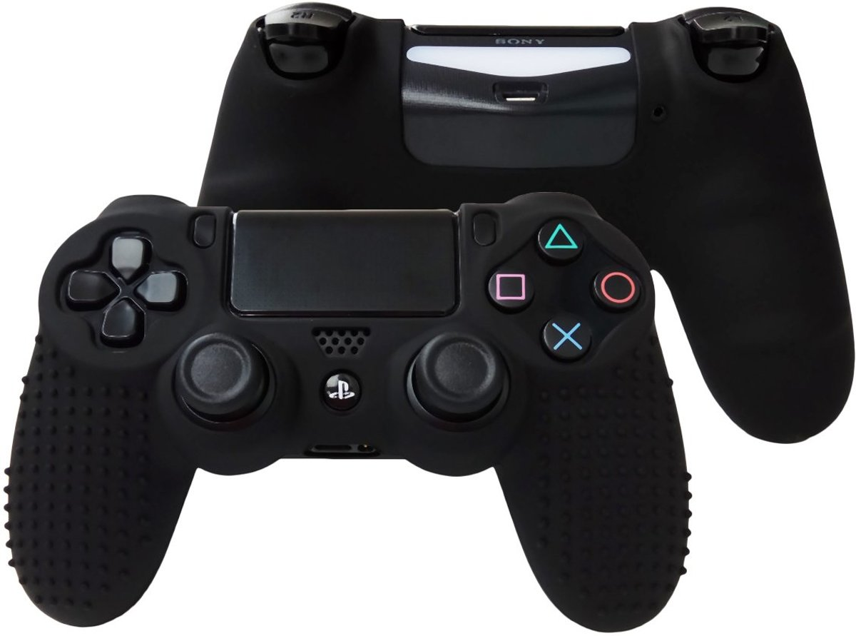 Playstation 4 Controller Siliconen Skin Grip - Playstayion Skin - PS4 - Zwart - Inclusief Grip Stick Covers