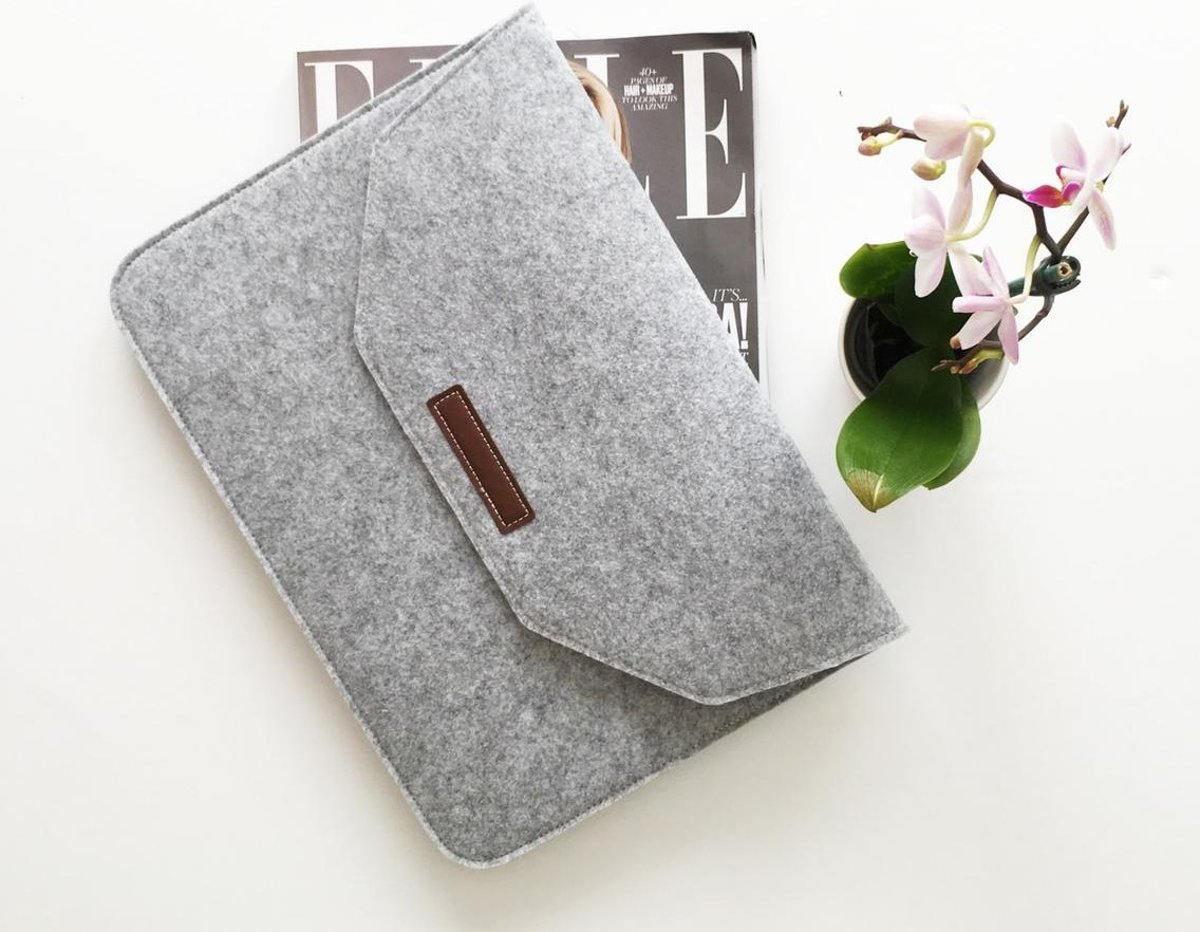 Vilten Soft Sleeve Voor de Apple Macbook Air / Pro (Retina) 15 - 15.4 Inch | Laptop hoes | Grijs