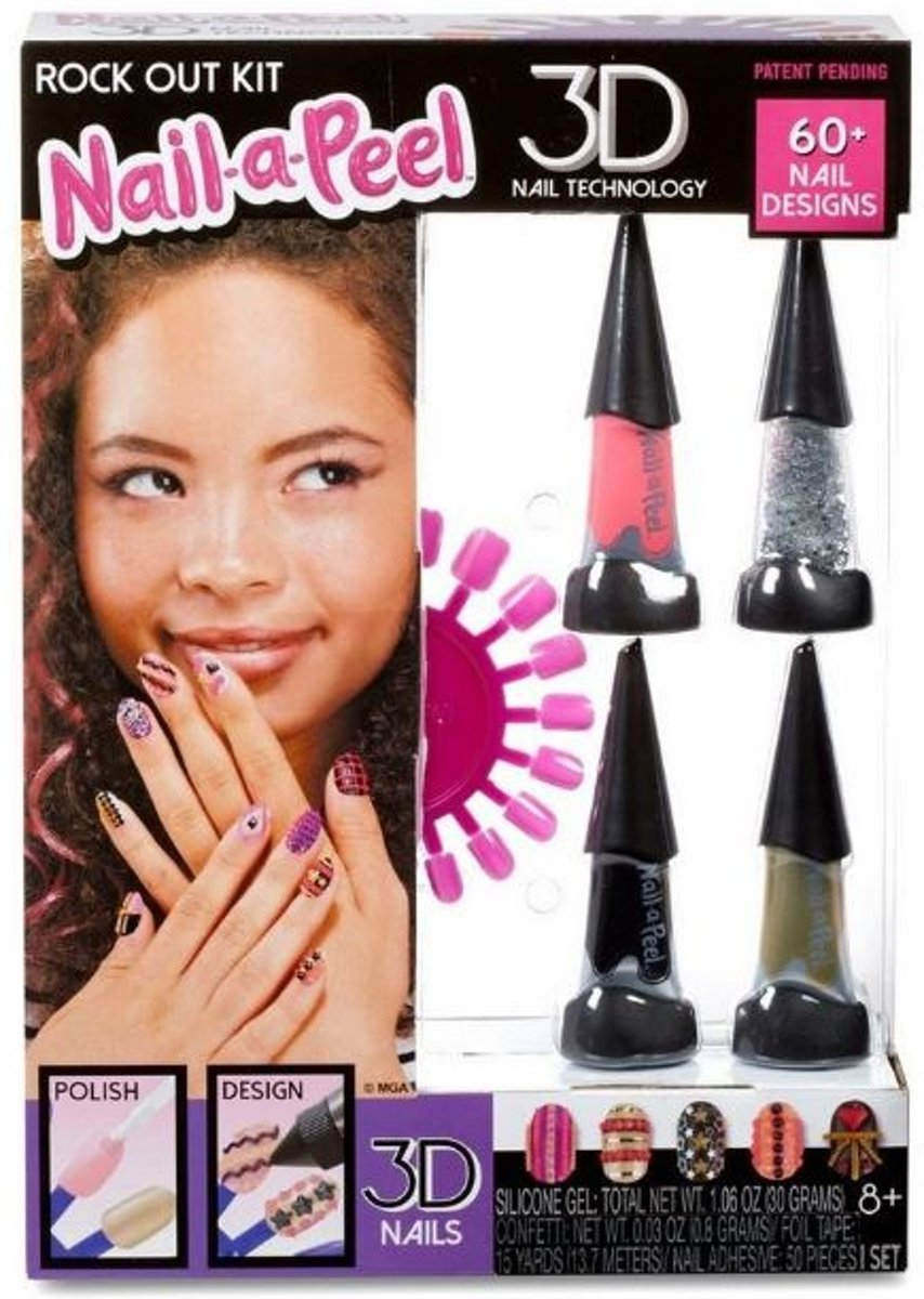 Mga Nagelset Nail-a-peel Deluxe 47-delig Roze/zwart