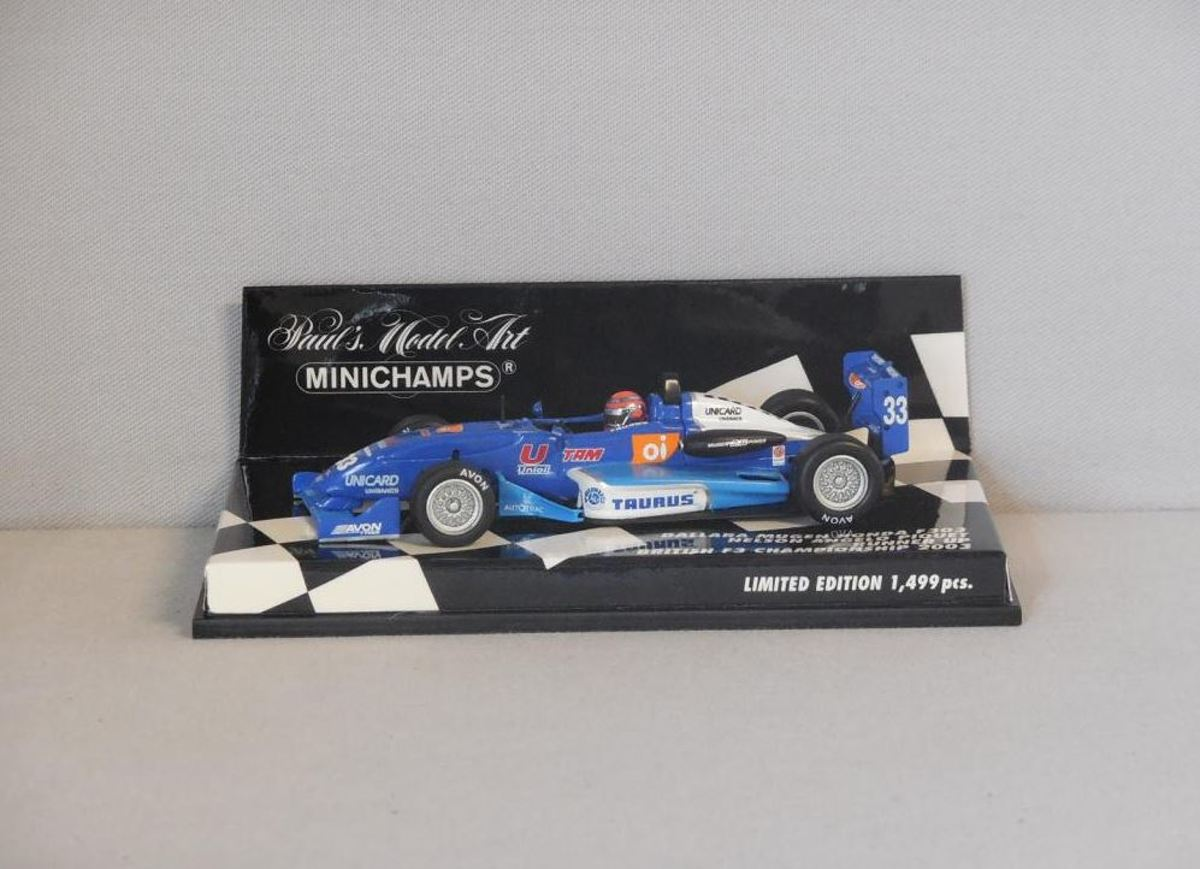 Dallara Mugen Honda F303 N.A. Piquet Runner UP British F3 Championship 1:43 Minichamps Blauw / Wit 400 030333