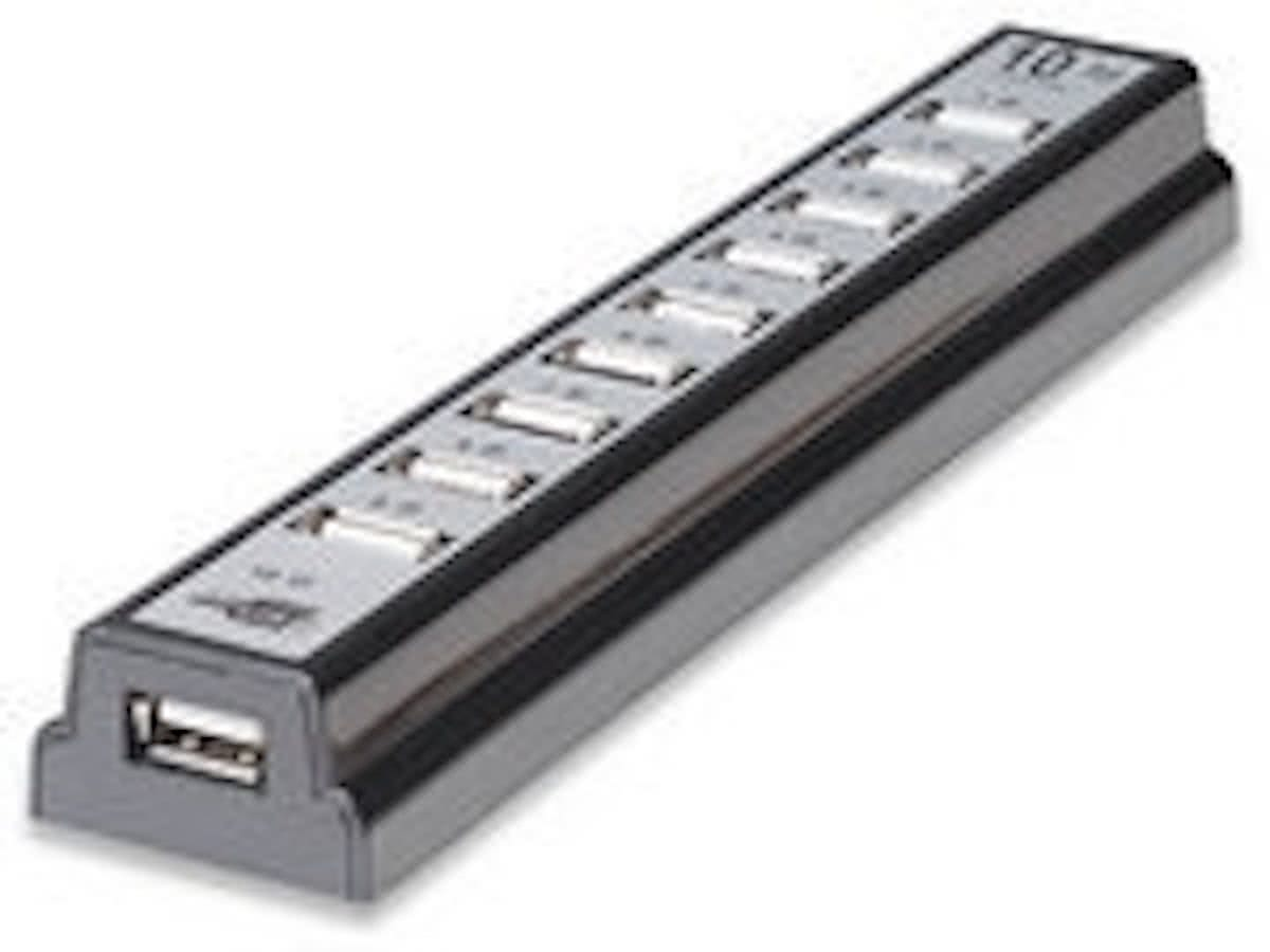 USB   10-Port   USB 2.0 Desktop   zwart