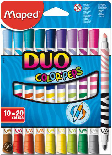 ColorPeps viltstift Duo - in kartonnen doos x 10