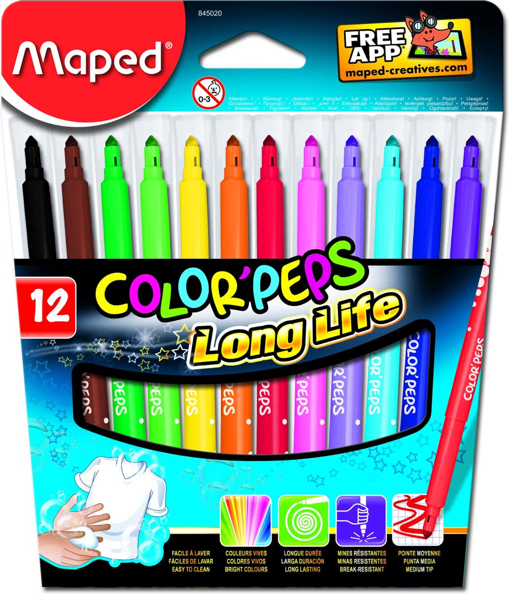 Colorpeps ultra uitwasbare viltstift x 12