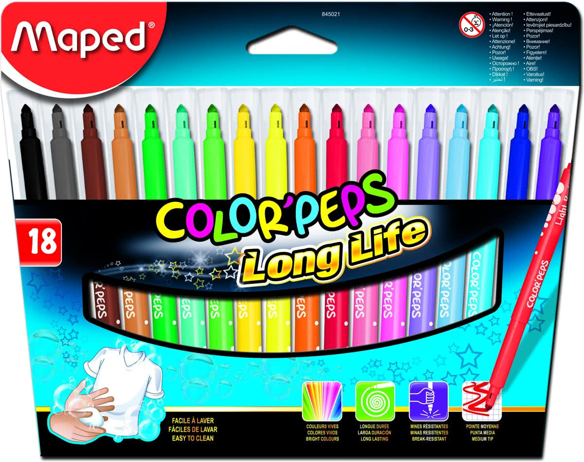 Maped Viltstift ColorPeps 18 stiften in een kartonnen etui