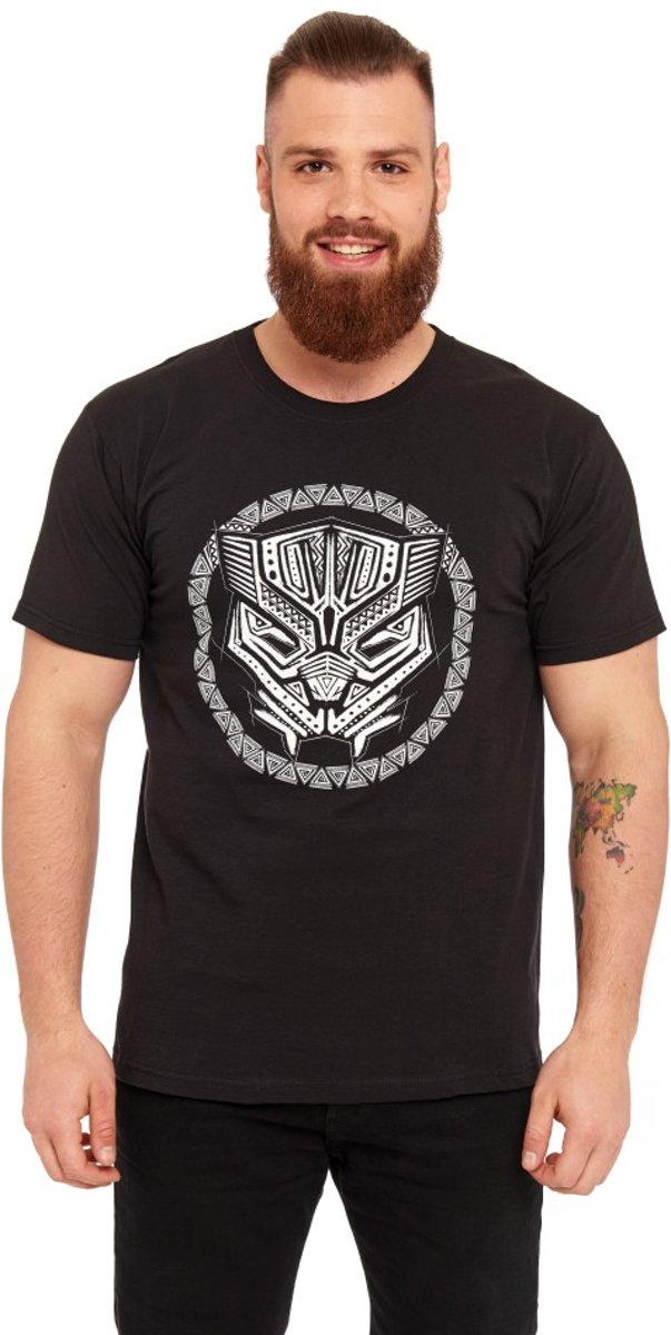 Marvel Black Panther Heren Tshirt -L- Symbol Zwart