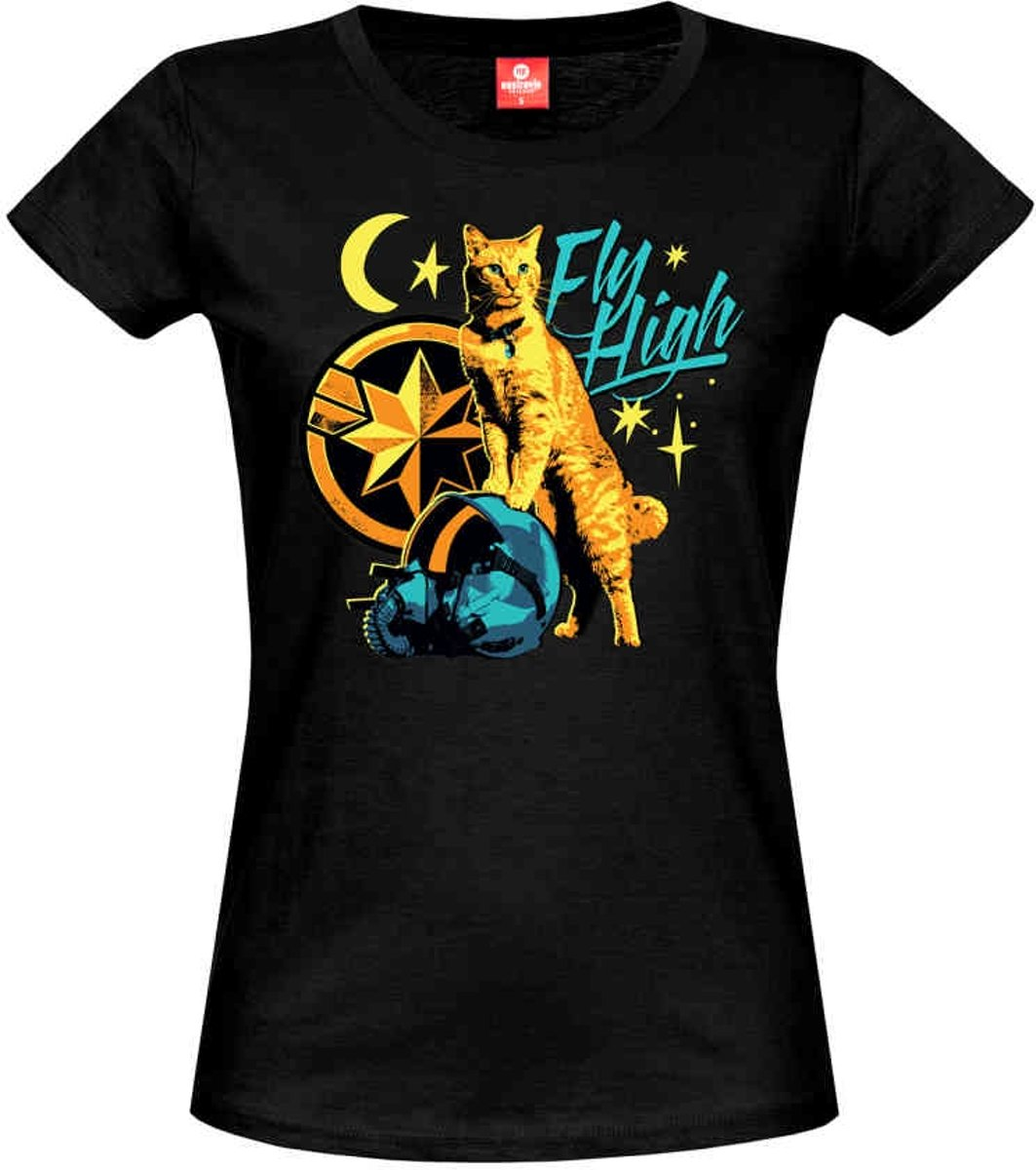 Marvel Captain Marvel Dames Tshirt -S- Flight High Zwart