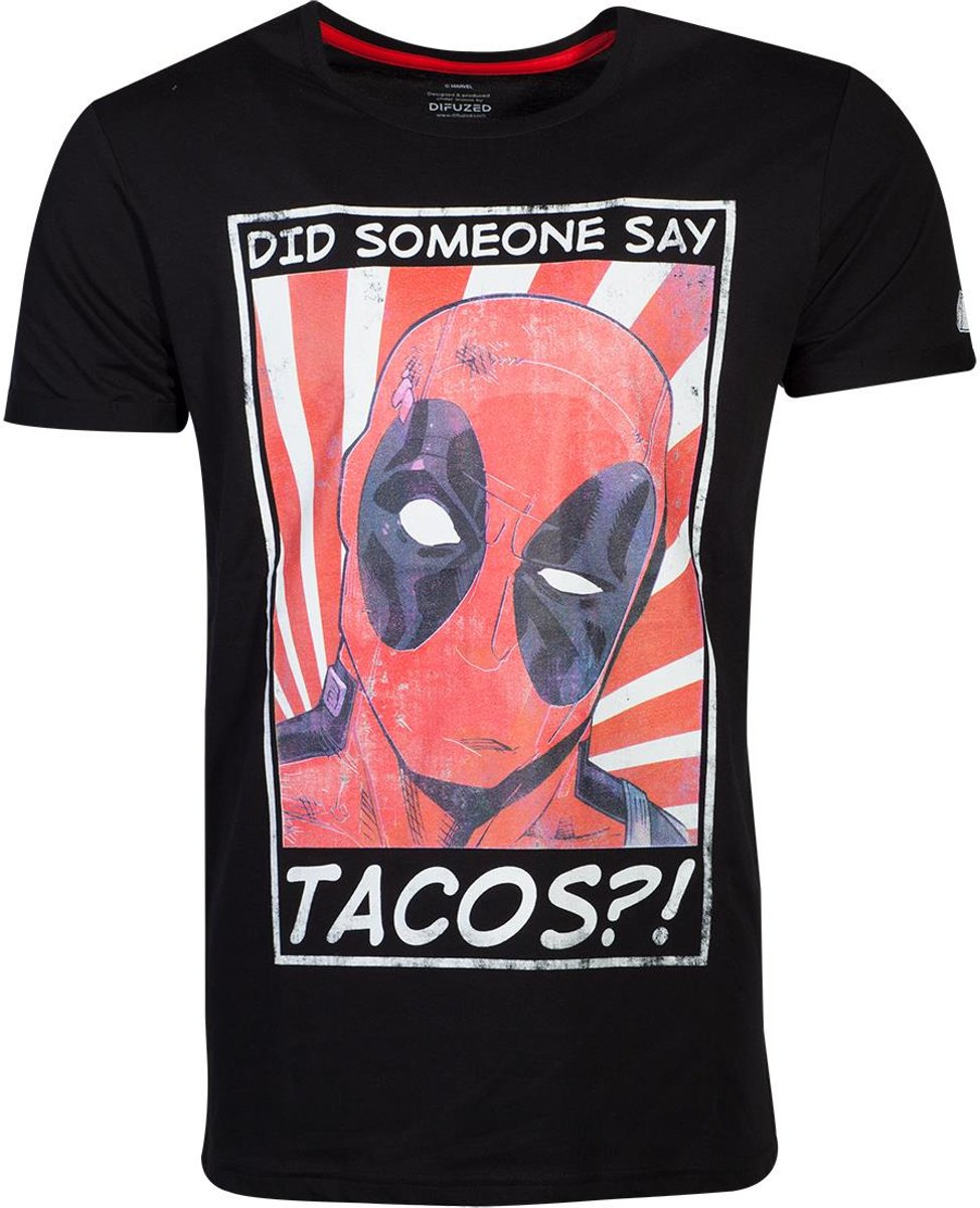 Marvel Deadpool Heren Tshirt -S- Tacos Zwart