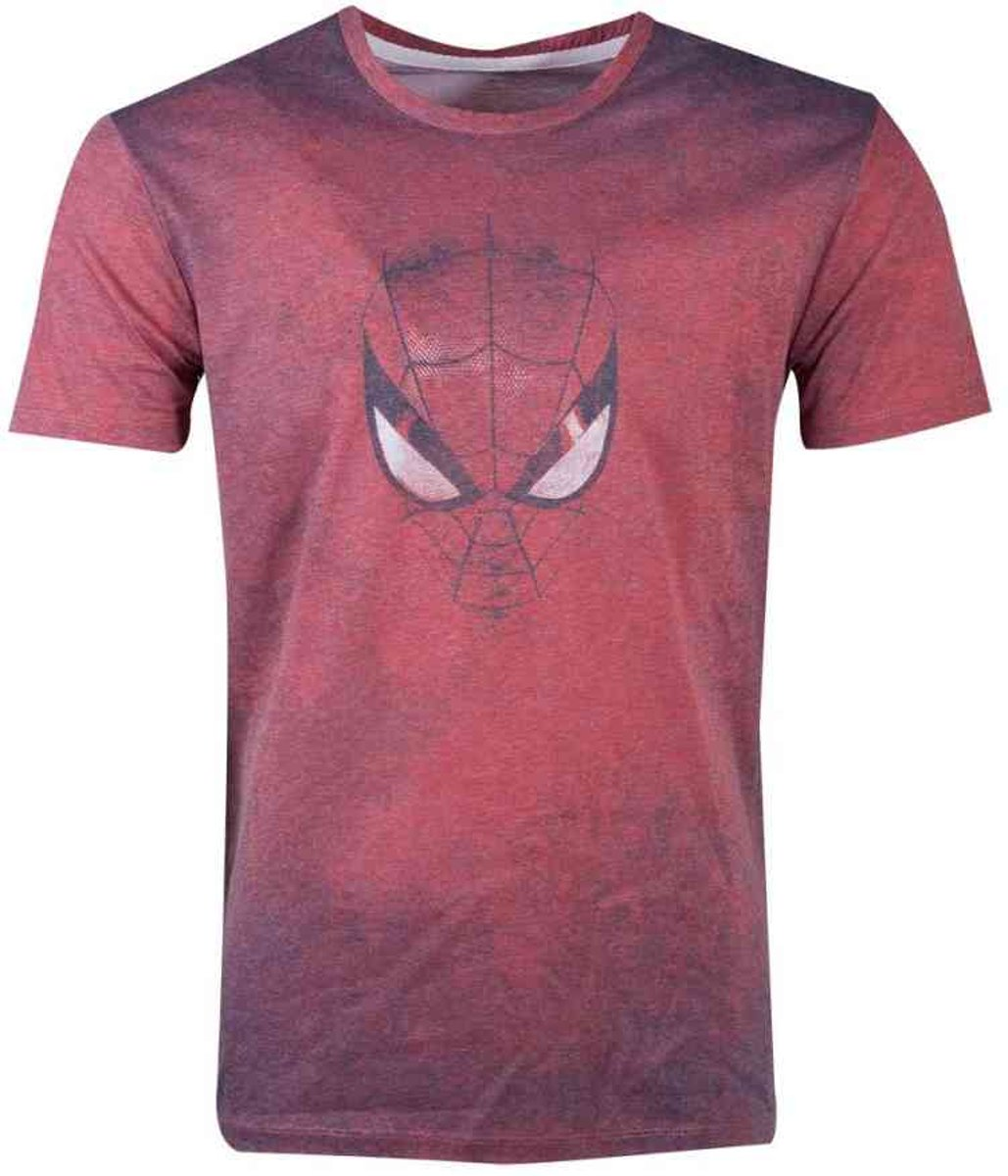 Marvel Spiderman Heren Tshirt -M- Acid Wash Rood