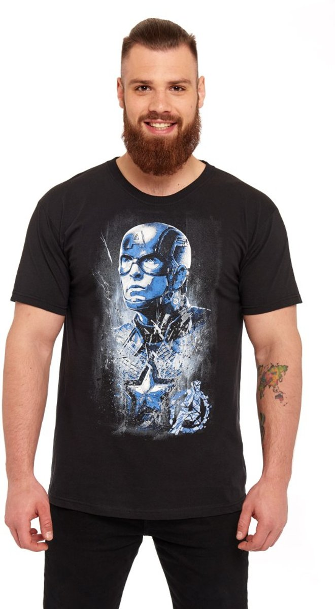 Marvel The Avengers Heren Tshirt -S- Captain Zwart