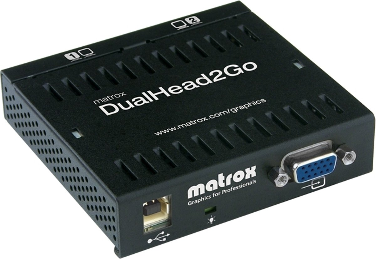 Dual Head 2 GoTurns virtually any graphics card (NotebookDesktop PC) in a dual head solutionExternal boxUSB Powered