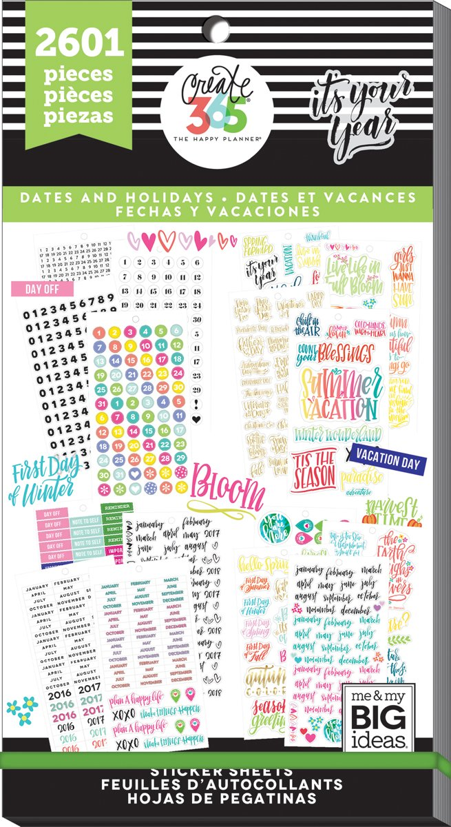 Me and My Big Ideas - Happy Planner Sticker Value Pack - Dates & Holidays - 2601Pieces