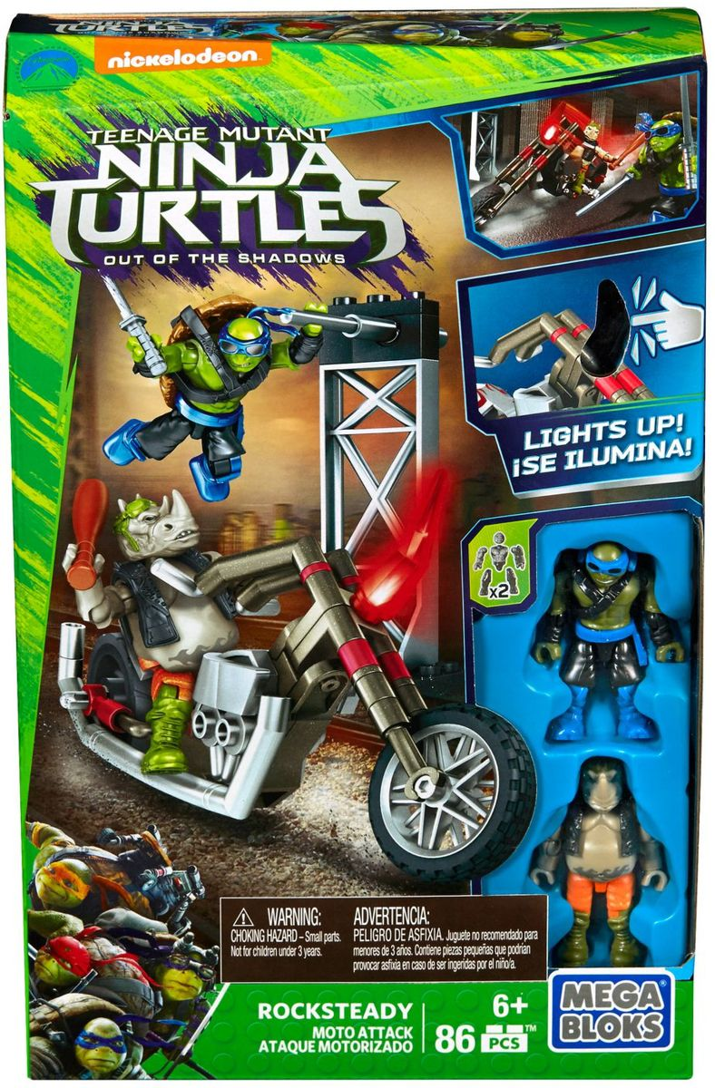 Mega Bloks Teenage Mutant Ninja Turtles - Rocksteady Moto Attack Construction Set DPF79