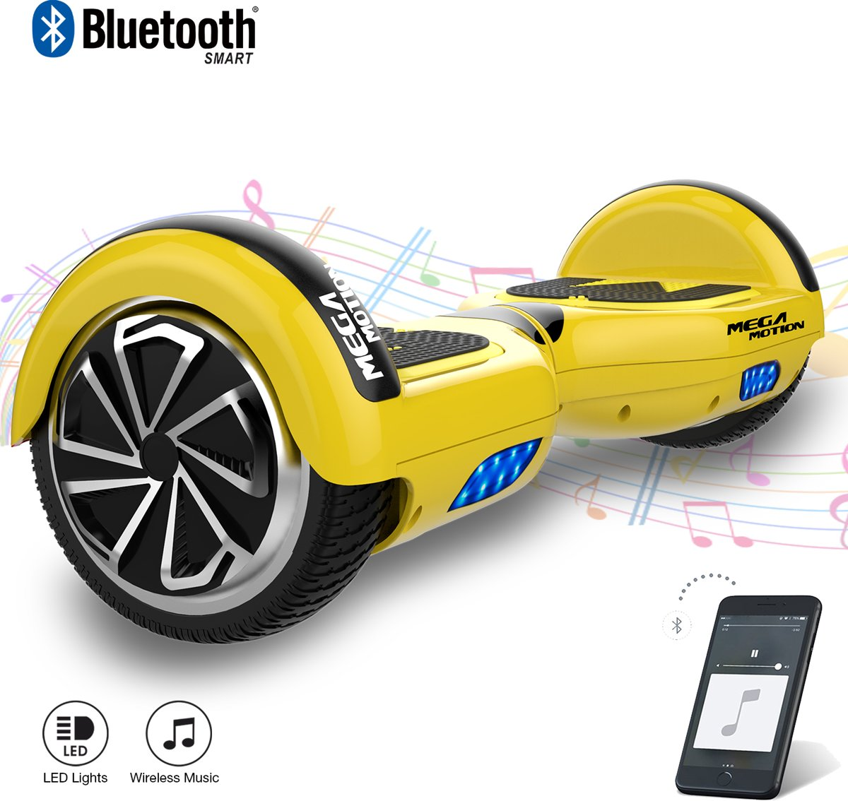 MEGA MOTION Self Balancing Smart Hoverboard Balance Scooter 6.5 inch/ V.5 Bluetooth speakers/ LED Verlichting /speciaal ontwerp - Geel