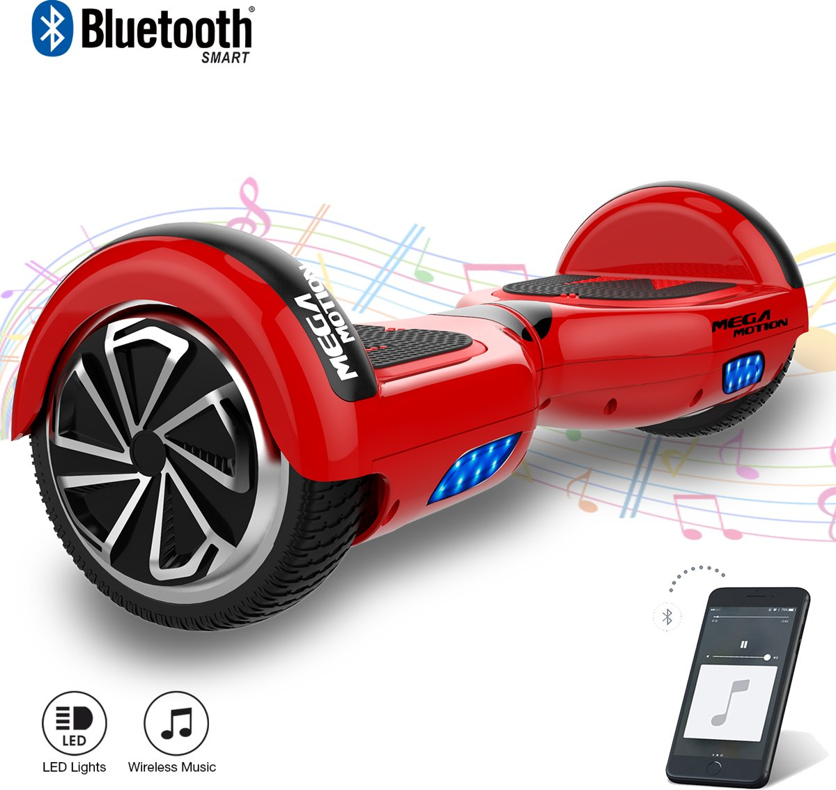 MEGA MOTION Self Balancing Smart Hoverboard Balance Scooter 6.5 inch/ V.5 Bluetooth speakers/ LED Verlichting /speciaal ontwerp - Rood
