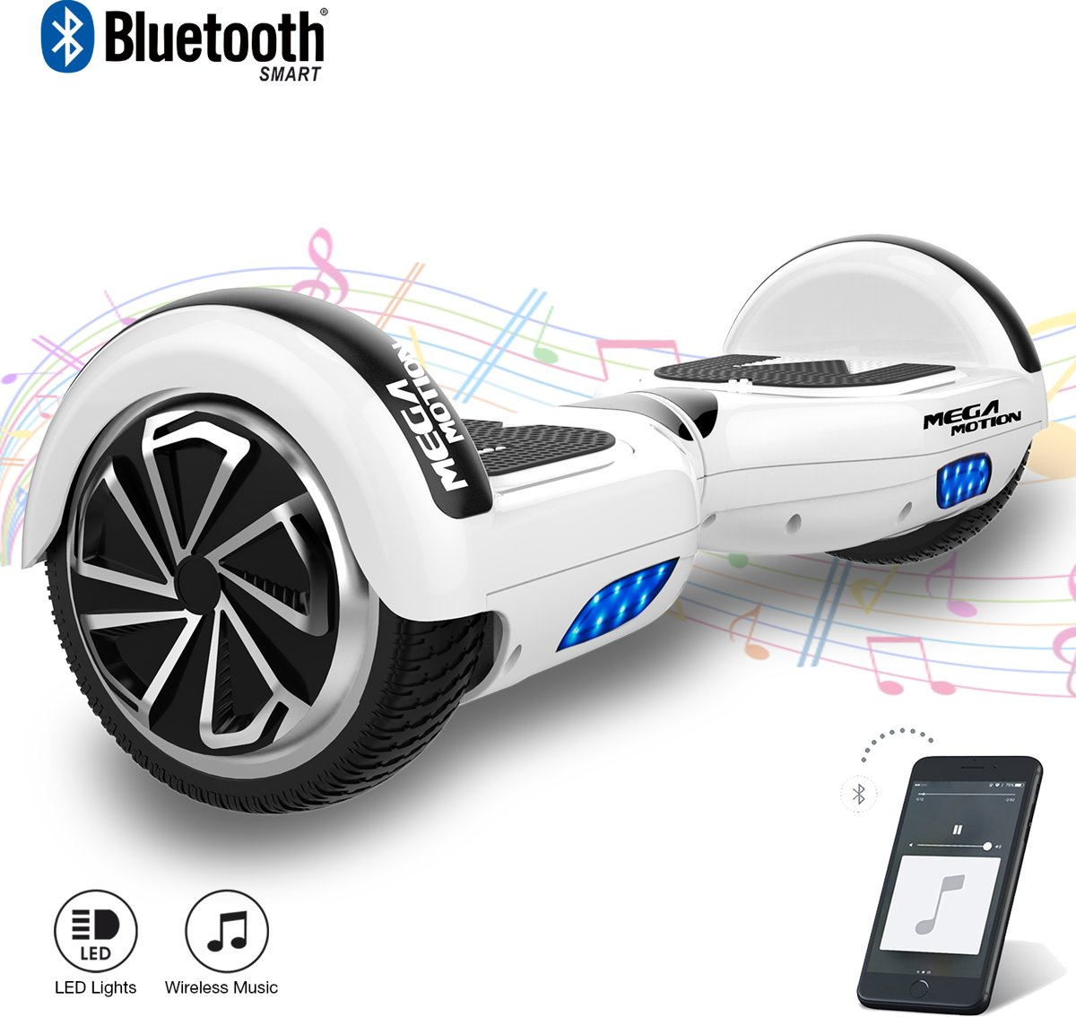 MEGA MOTION Self Balancing Smart Hoverboard Balance Scooter 6.5 inch/ V.5 Bluetooth speakers/ LED Verlichting /speciaal ontwerp - Wit