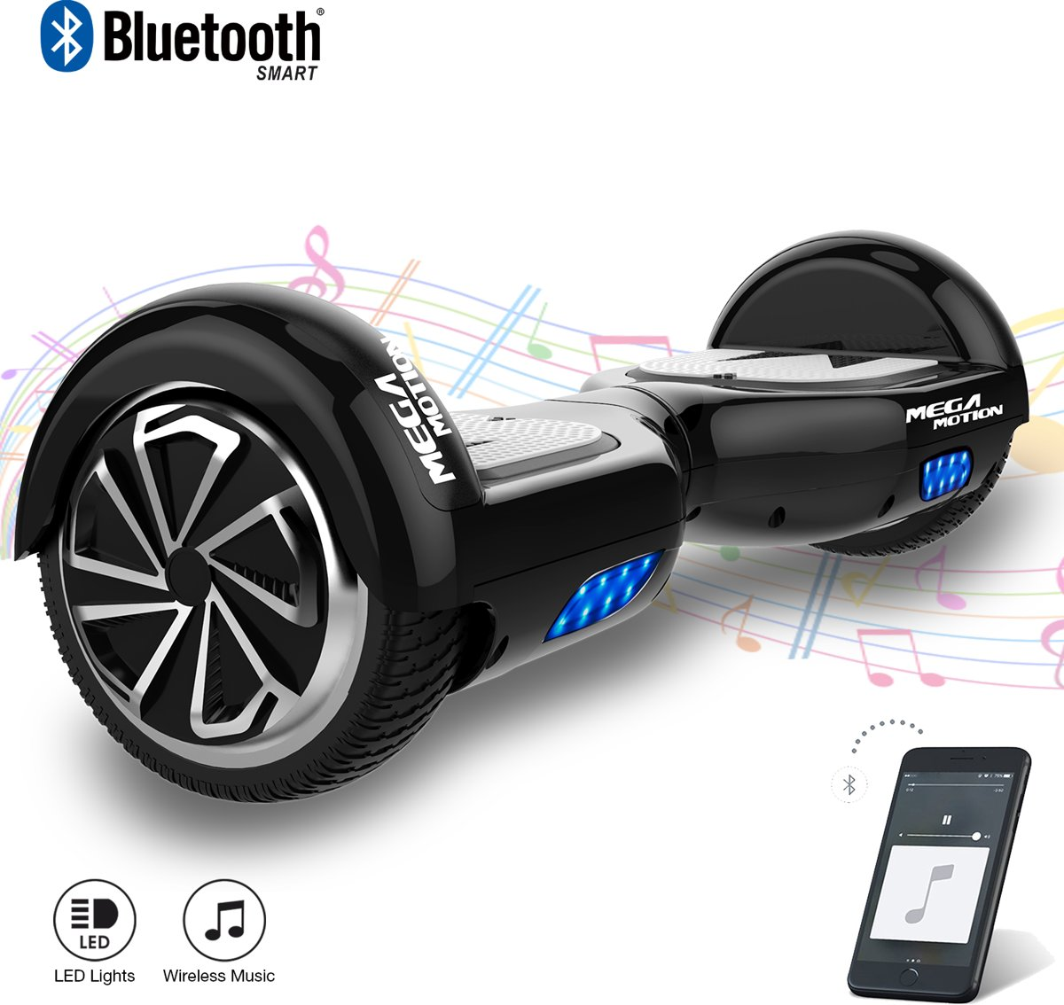 MEGA MOTION Self Balancing Smart Hoverboard Balance Scooter 6.5 inch/ V.5 Bluetooth speakers/ LED Verlichting /speciaal ontwerp - Zwart