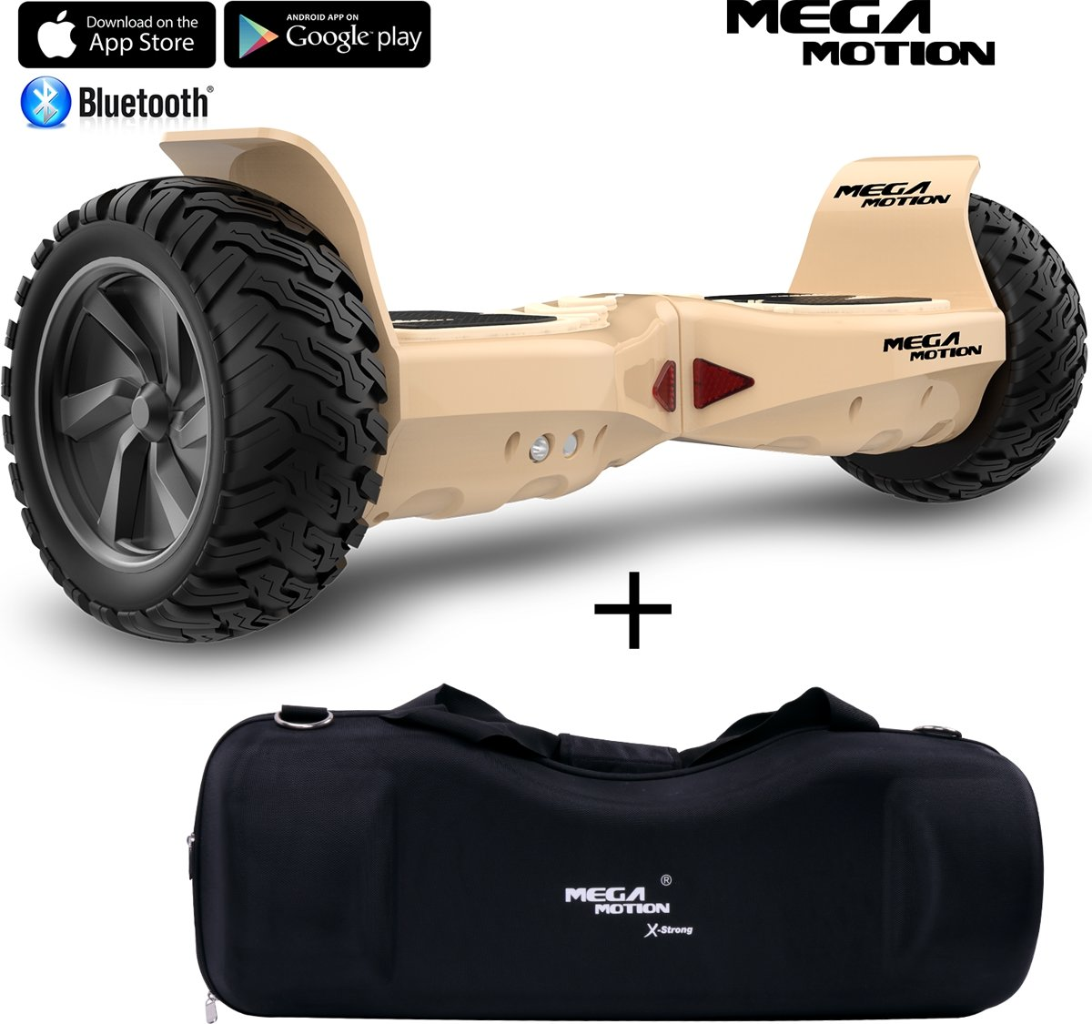 Mega Motion Hoverboard Hummer 8.5 inch SUV Hoverboard Goud + Draagbare waterdichte sporttas 8.5 inch