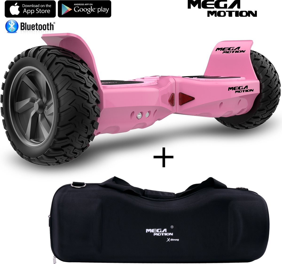 Mega Motion Hoverboard Hummer 8.5 inch SUV Hoverboard Roze + Draagbare waterdichte sporttas 8.5 inch
