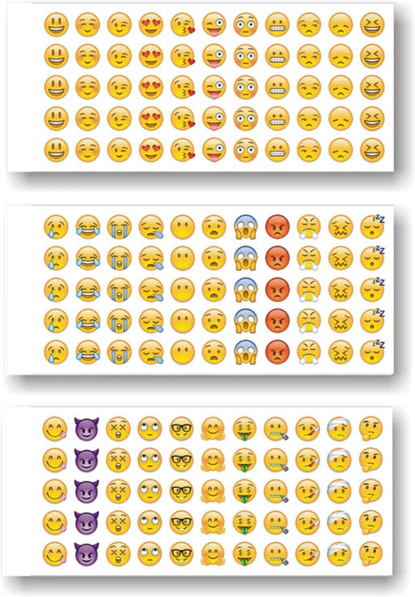 165 Emoji Smiley stickers ( 33 verschillende smileys)
