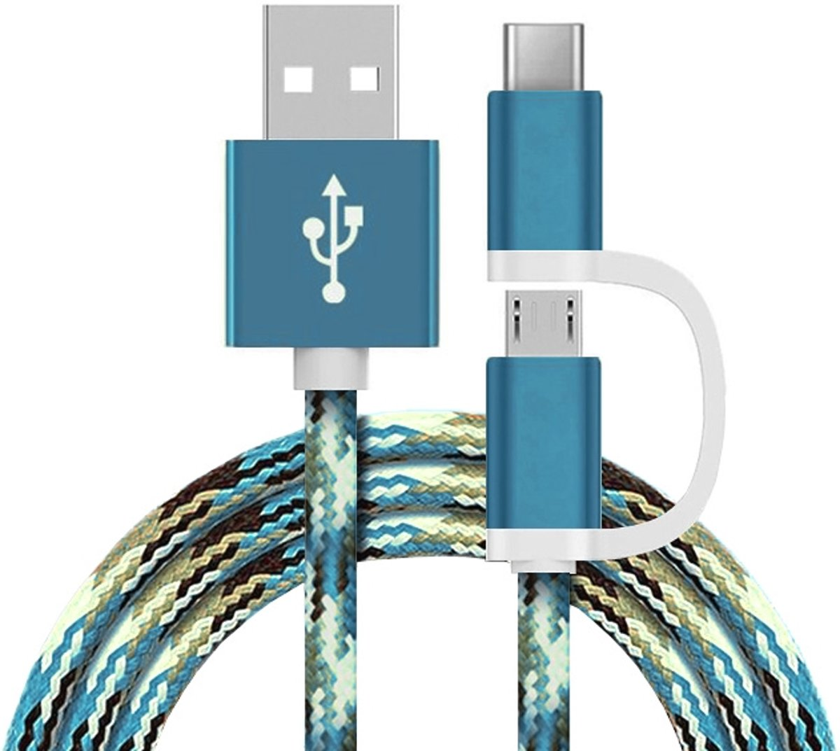 2 in 1 Charging Cable (USB Micro & Type-C) - 1,0 Meter (Ocean Blue-Nylon)
