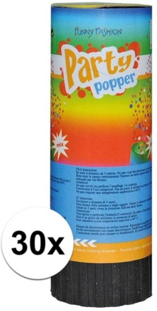 30x Mini party poppers 11 cm