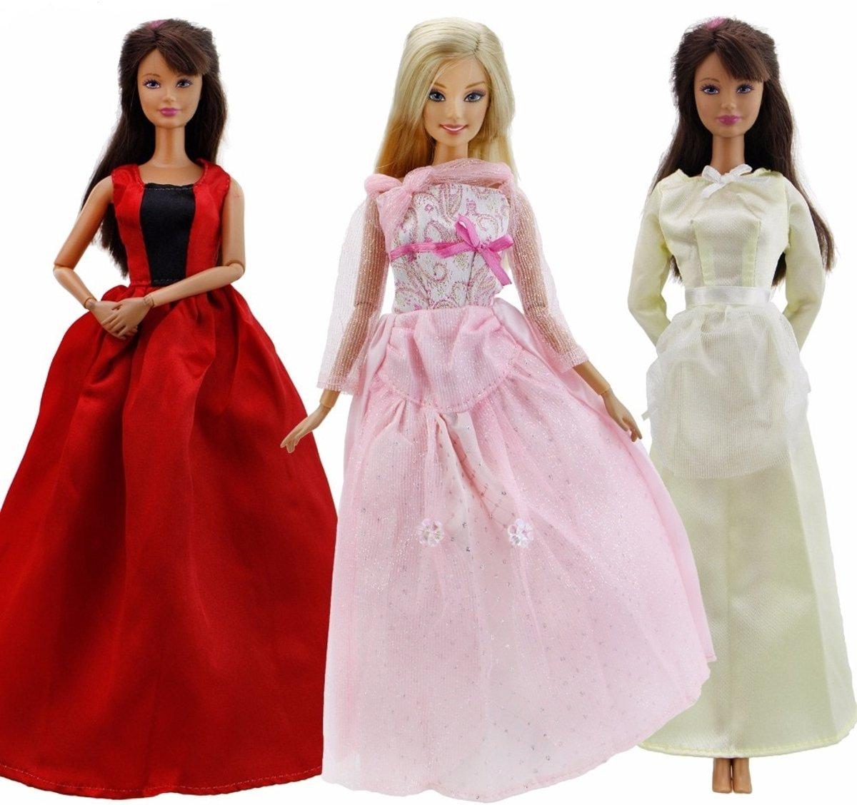 fb92f2aa06b9b9 3x lange jurk voor modepop - prinsessenjurk set voor barbie pop