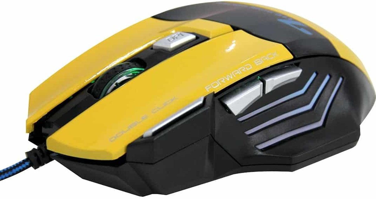 7 knoppen met Scroll Wheel 5000 DPI LED Bedrade Optische Gaming Mouse voor Computer PC Laptop (Geel)