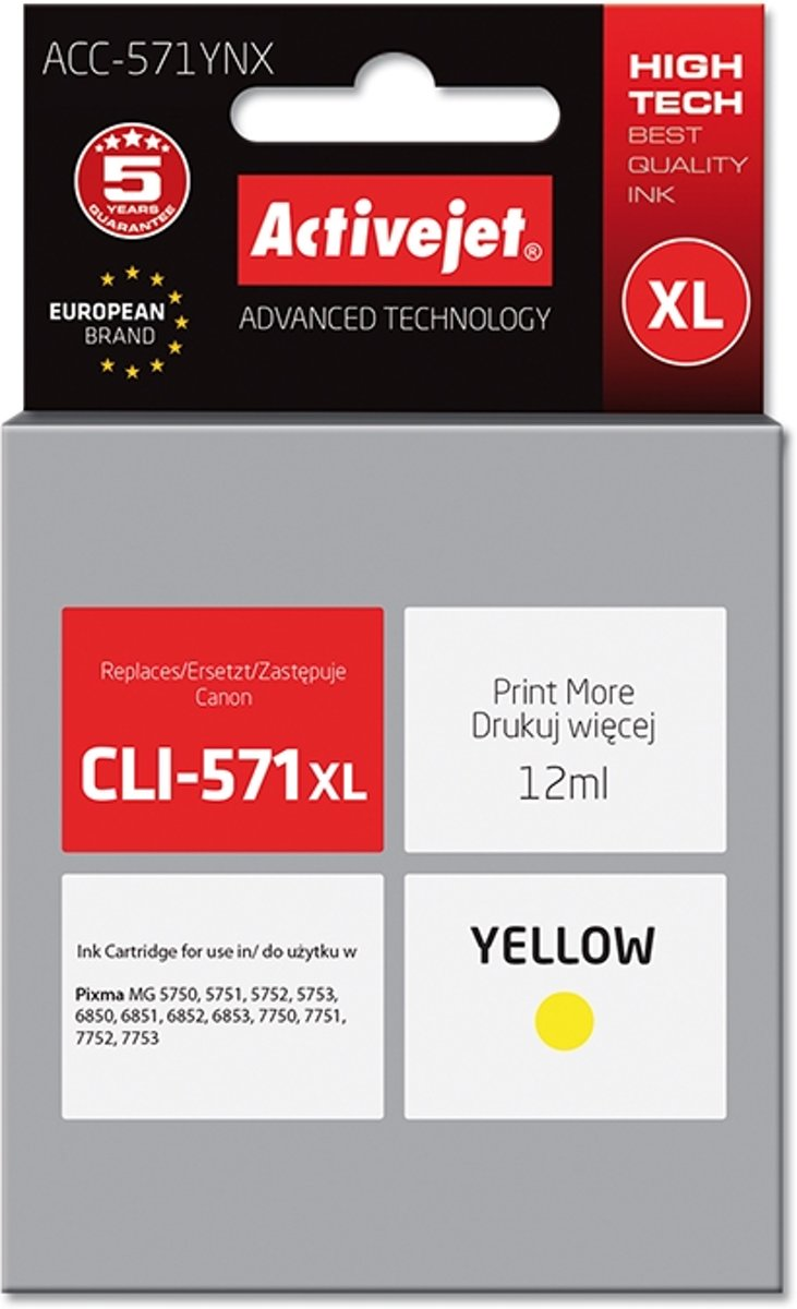 ActiveJet ink for Canon CLI-571Y XL new ACC-571YNX