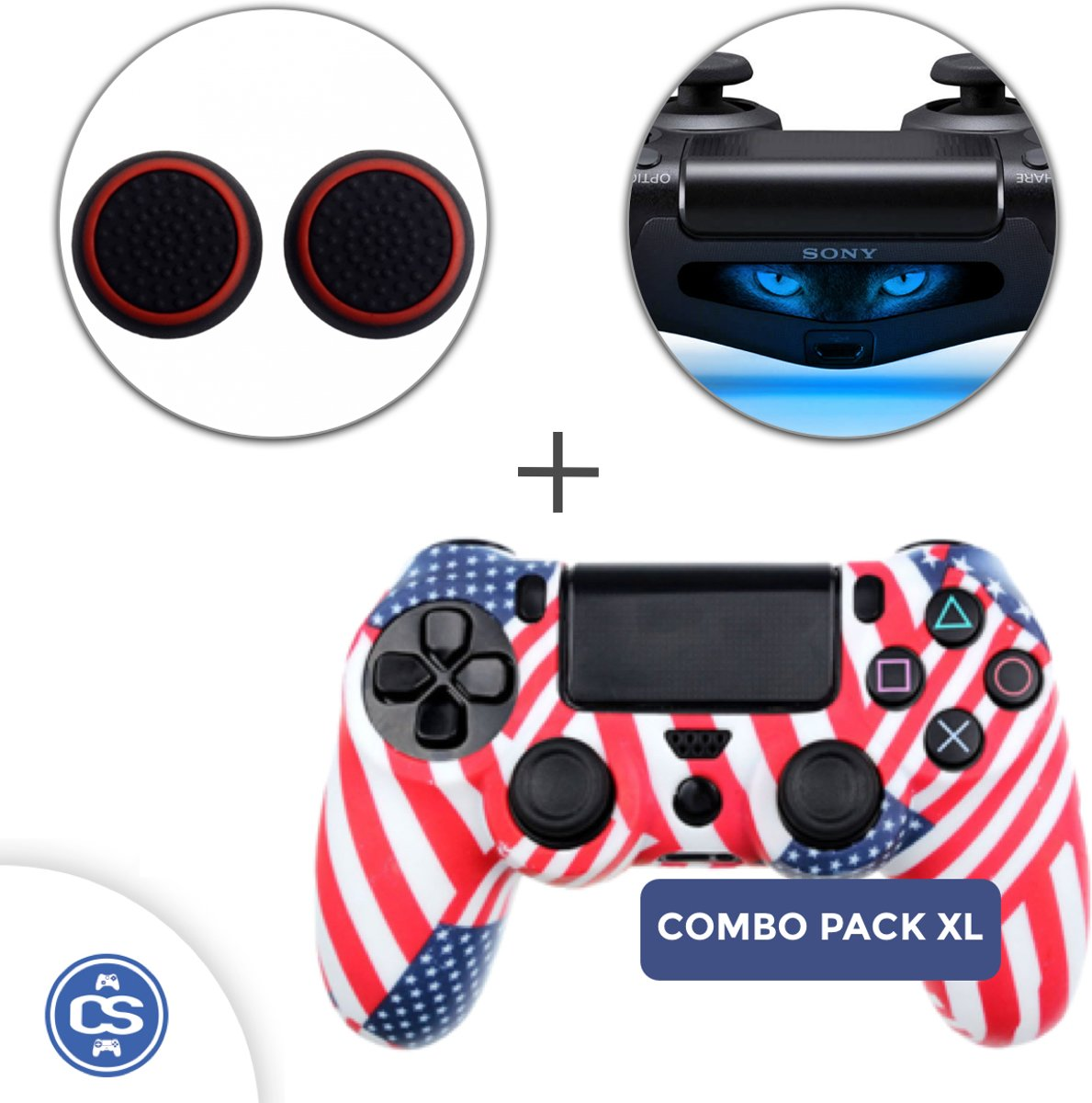 Amerika USA Siliconen Beschermhoes + Thumb Grips + Lightbar Skin voor PS4 Dualshock PlayStation 4 Controller - Softcover Hoes / Case