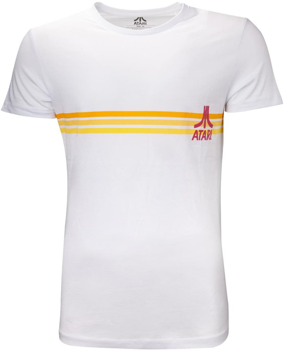 Atari Heren Tshirt -M- Striped Logo Wit