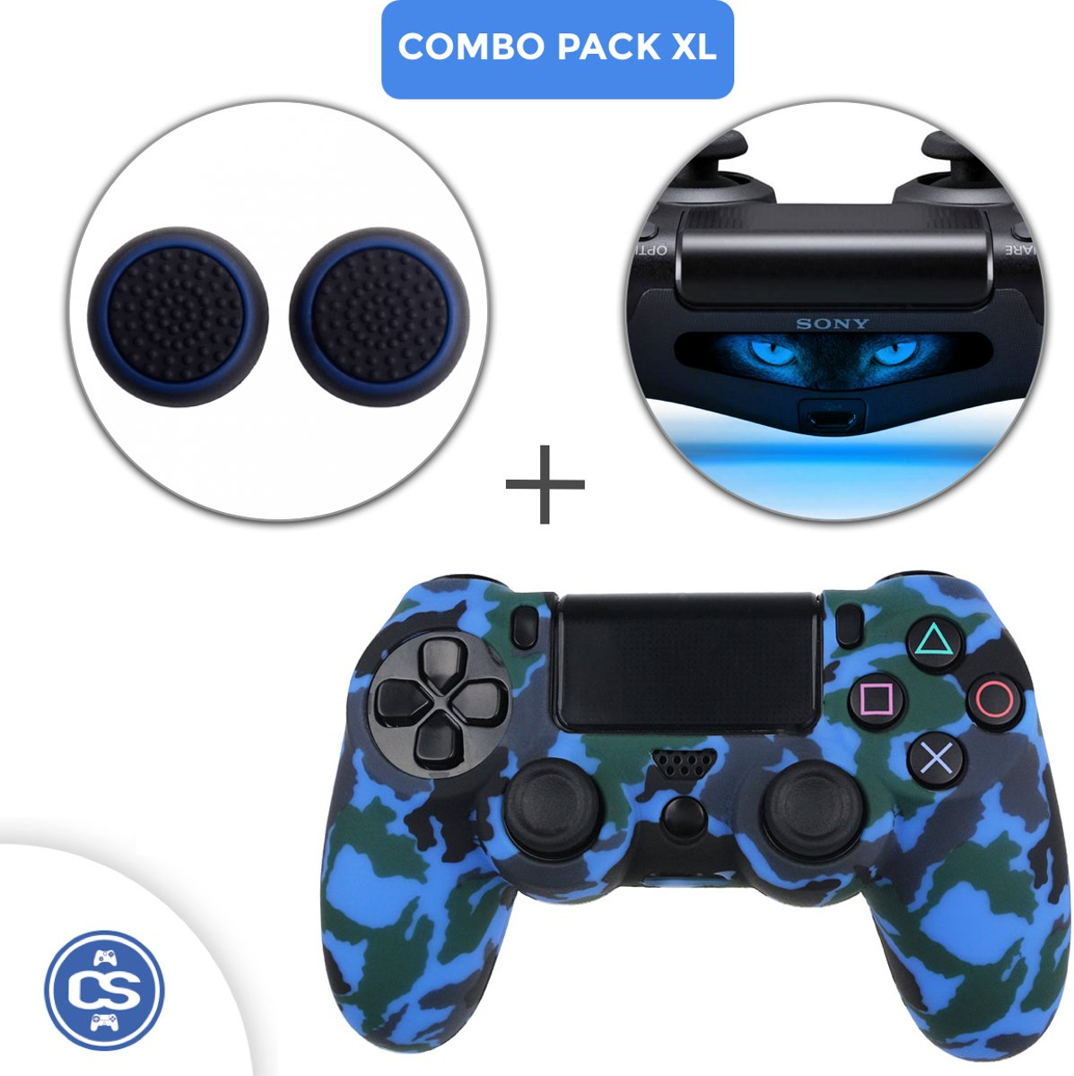 Camo Blauw Siliconen Beschermhoes + Thumb Grips + Lightbar Skin voor PS4 Dualshock PlayStation 4 Controller - Softcover Hoes / Case