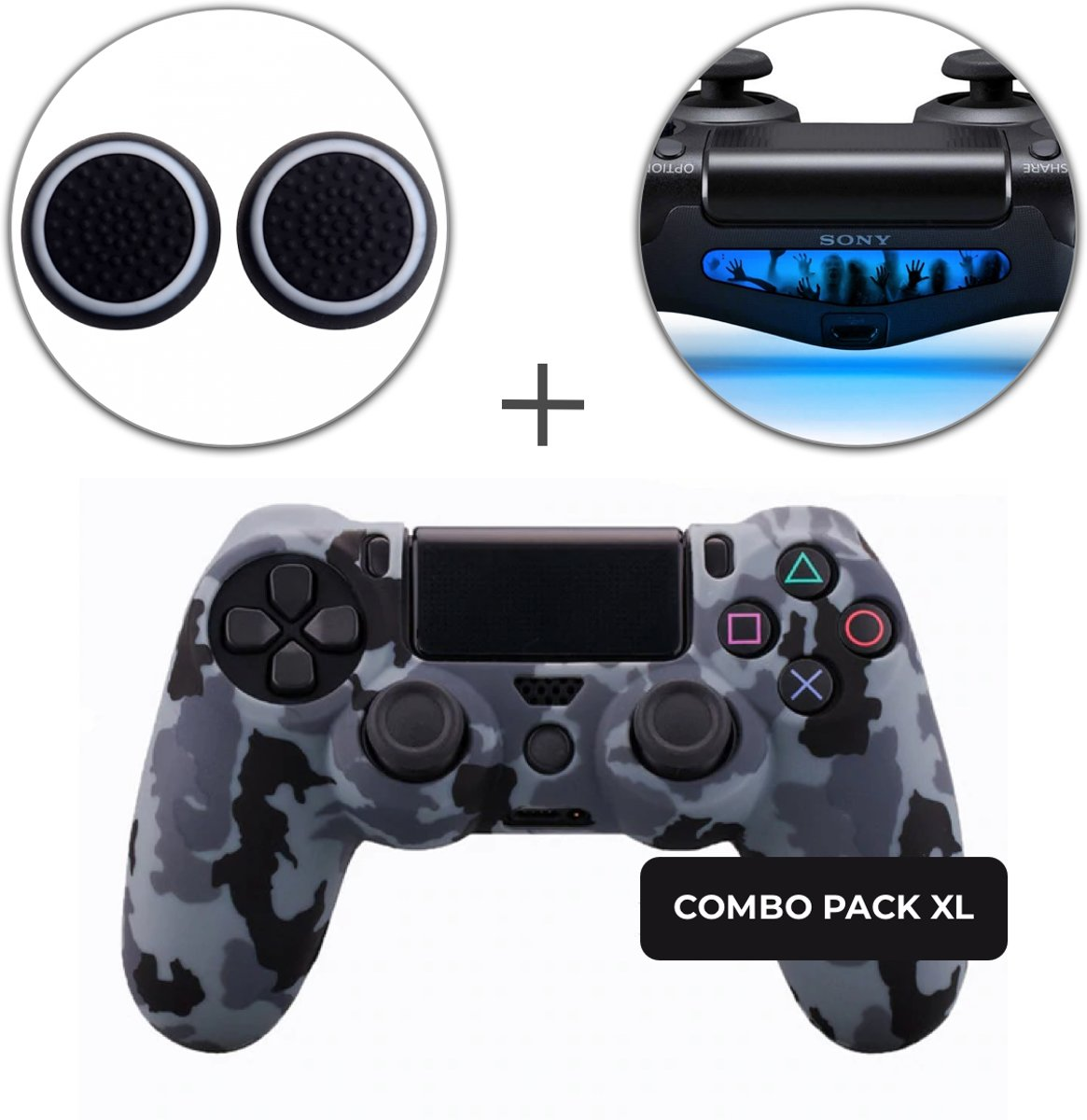 Camo Grijs Siliconen Beschermhoes + Thumb Grips + Lightbar Skin voor PS4 Dualshock PlayStation 4 Controller - Softcover Hoes / Case