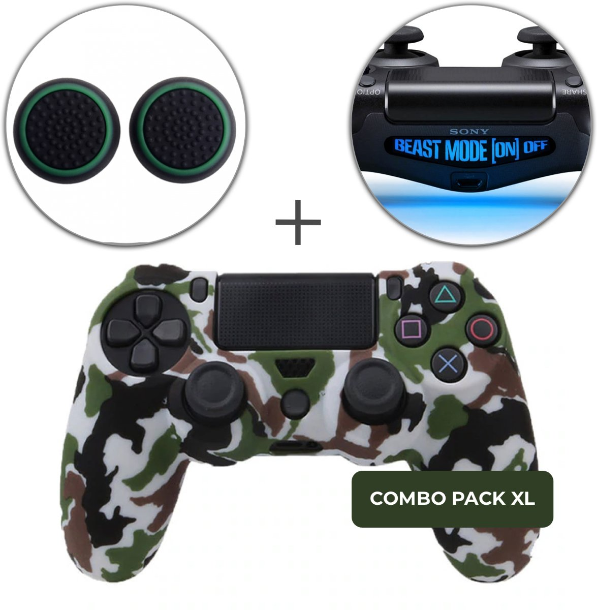 Camo Groen Bruin Siliconen Beschermhoes + Thumb Grips + Lightbar Skin voor PS4 Dualshock PlayStation 4 Controller - Softcover Hoes / Case