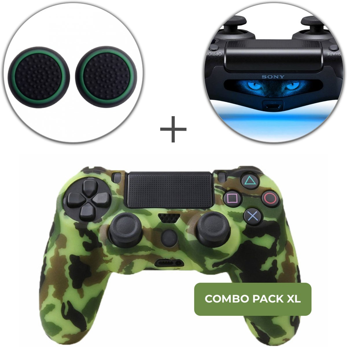 Camo Groen Lime Siliconen Beschermhoes + Thumb Grips + Lightbar Skin voor PS4 Dualshock PlayStation 4 Controller - Softcover Hoes / Case