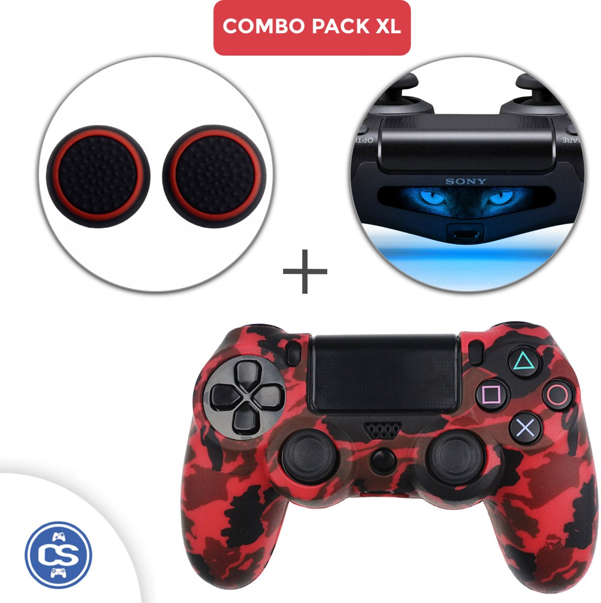 Camo Rood Siliconen Beschermhoes + Thumb Grips + Lightbar Skin voor PS4 Dualshock PlayStation 4 Controller - Softcover Hoes / Case