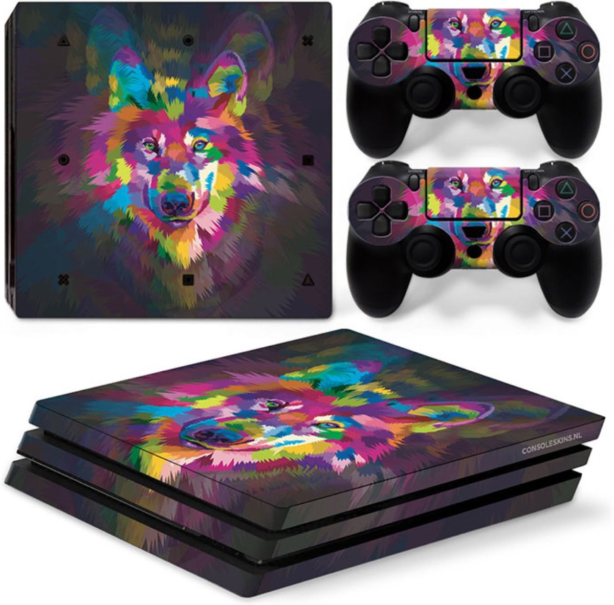 Color Wolf - PS4 Pro Console Skins PlayStation Stickers