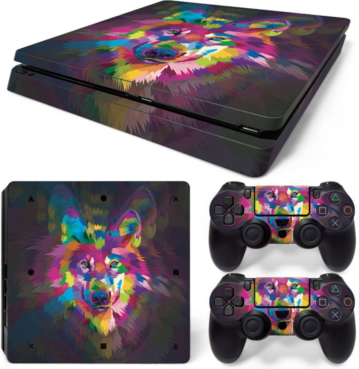 Color Wolf - PS4 Slim Console Skins PlayStation Stickers