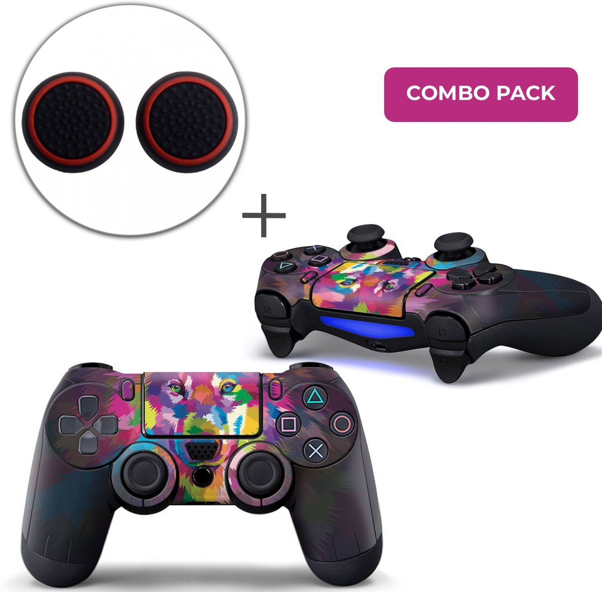 Color Wolf Combo Pack - PS4 Controller Skins PlayStation Stickers + Thumb Grips